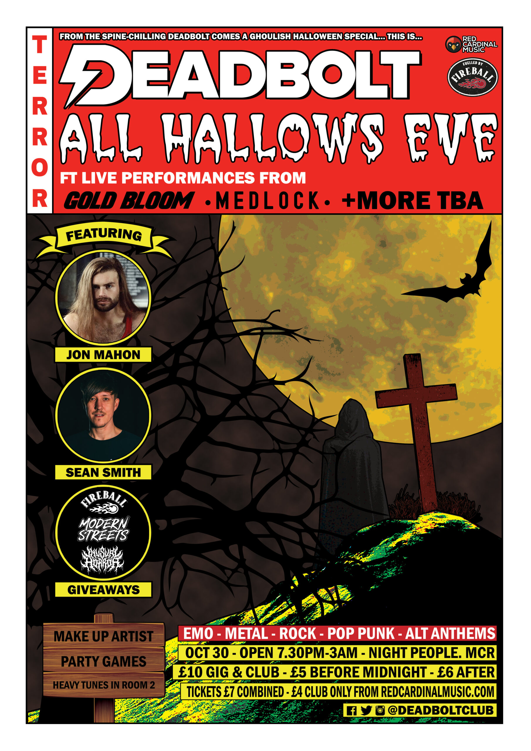 Deadbolt Manchester - All Hallows Eve - Oct 21 - Poster - Alternative Halloween