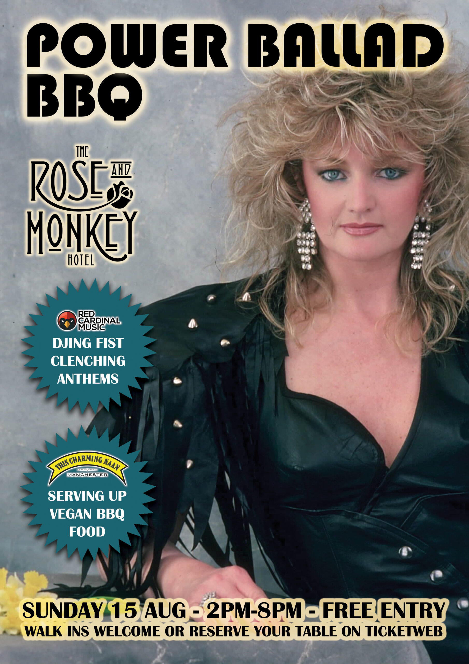 Power Ballad BBQ - Rose & Monkey - Aug 21 - Poster - This Charming Naan